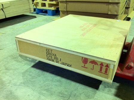 部材の海外向け木箱梱包