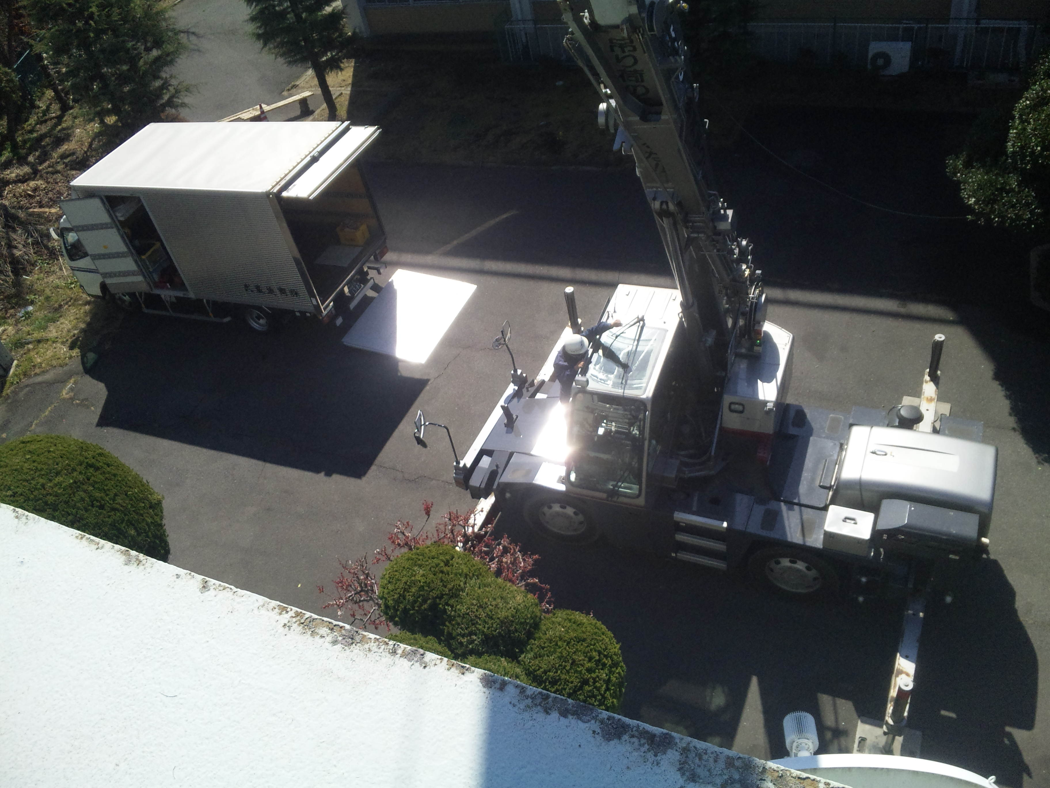 屋上からの作業風景